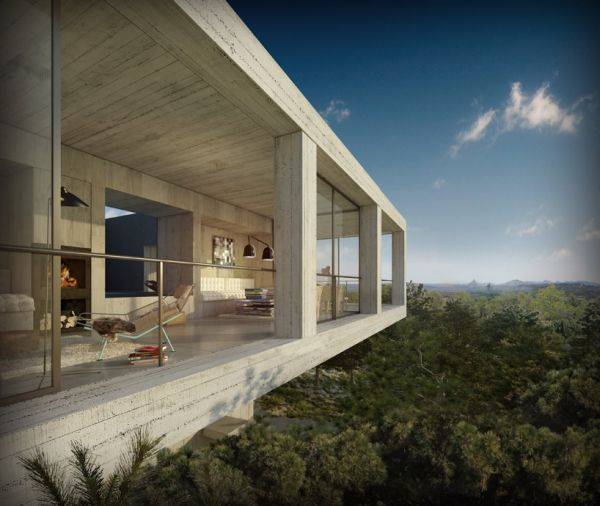 Concrete House Softened By The Environment Solo