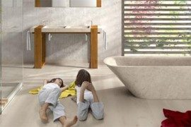 Lovely stone bathtub displaying clean modern lines