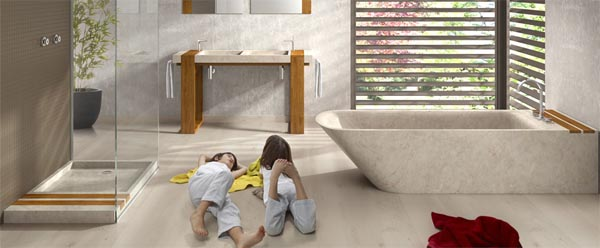 Stone Bathtub Lovely stone bathtub displaying clean modern lines