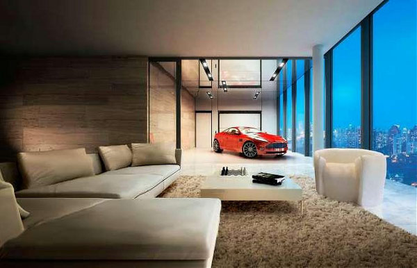 Car parked inside home 11 Living Rooms Can Double Up as Parking Lots Too