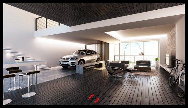 Living Rooms Can Double Up as Parking Lots Too. Home Car Park Design House