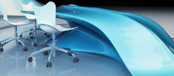 Ekspoze Table Design for TV Studios 5 Flowing Design Table Perfect for a Modern TV Studio