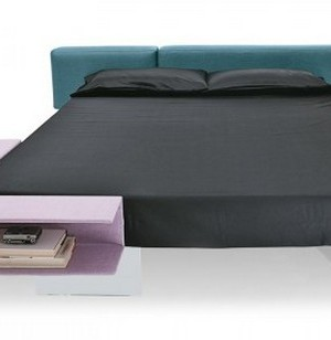 Seemingly Floating Bed with Book Storage Space by Lago 2