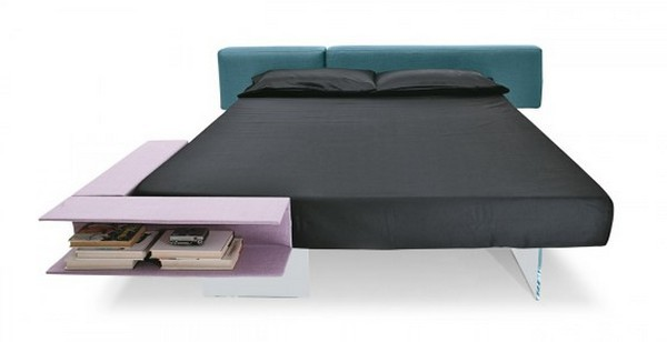 Seemingly Floating Bed with Book Storage Space by Lago 2 Floating Bed Has an Out of this World Design