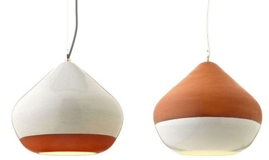 Elegantly hanging over the dining table: Terracotta Lamps