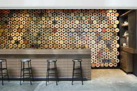 Amazing magnetized tea containers adorn the Great Wall Tea Co.