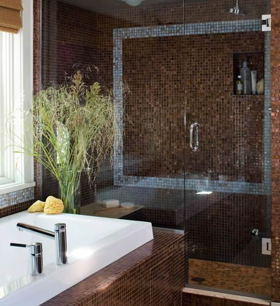 Brown and blue bathroom 2017 grasscloth wallpaper for Blue and brown bathroom designs