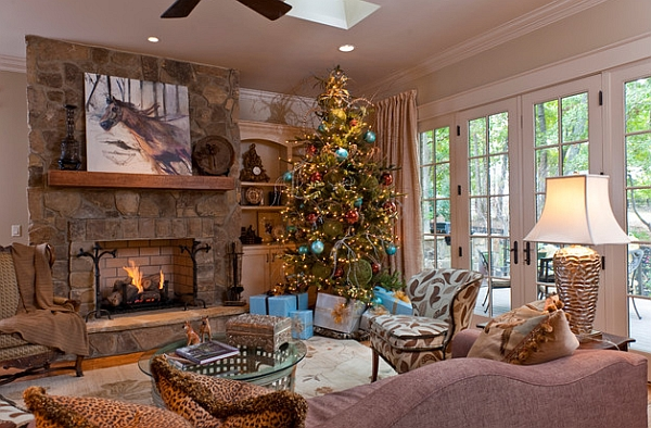 Christmas tree next to the fireplace