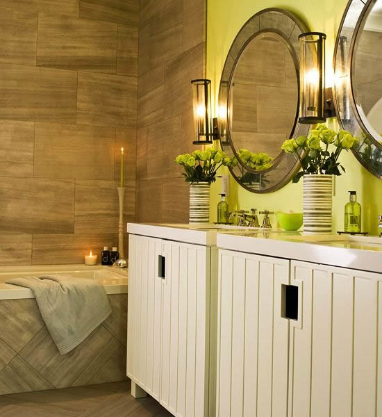 10 stylish colored bathrooms modern sleek combinations for Green and brown bathroom set