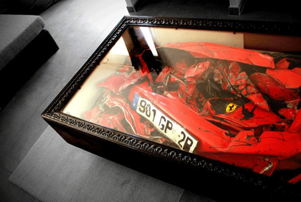 Crashed Ferrari Coffee Table 1 Crashed Ferrari Adds Charm to Home Decor inside a Coffee Table