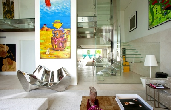 Malibu House Exceptional dream home in Malibu displaying glass, leather and colorful character