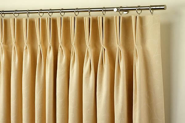 Pinch Pleats drapery Traditional & Innovative Drapery Header Styles