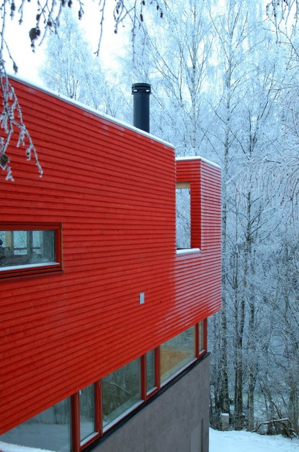 Red House by JVA 2 Red House in a Snowy Environment