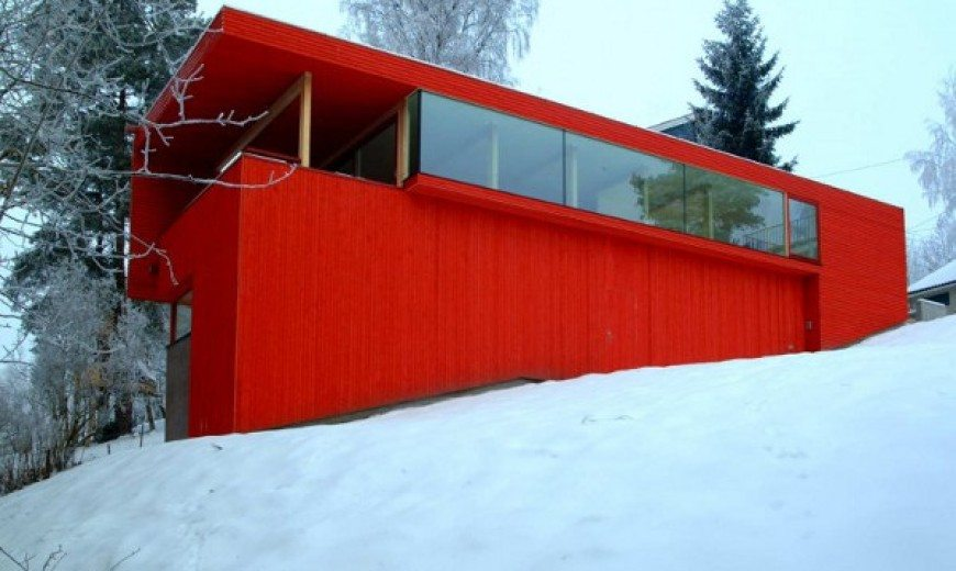 Red House in a Snowy Environment