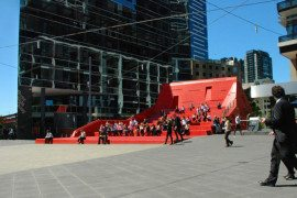 Amazing Red Stair and Vent Sculpture in the Middle ofMelbourne