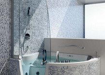 Teuco Corner Whirlpool Shower Integrates Shower With Bathtub