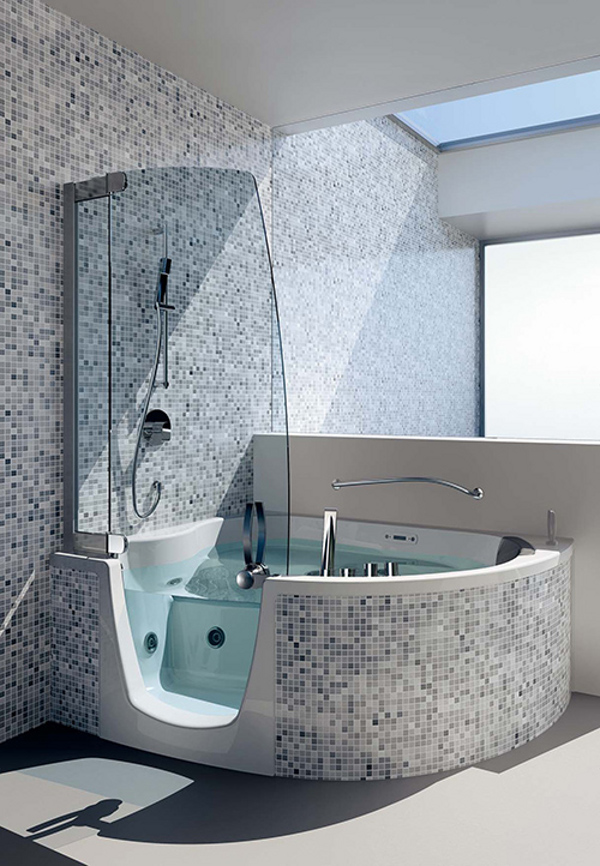 Teuco corner whirlpool shower integrates shower with bathtub for Petites baignoires ikea