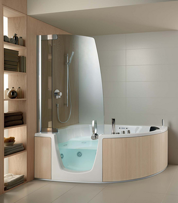 Teuco corner whirlpool shower integrates shower with bathtub for Jet tub bathroom designs