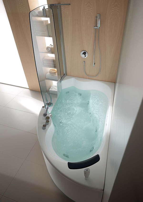Teuco corner whirlpool shower integrates shower with bathtub for Badezimmergestaltung mit dusche