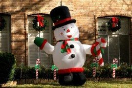 fat inflatable snowman - christmas decorations