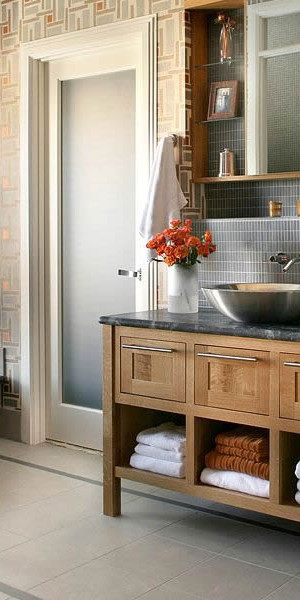 gray cream bathroom