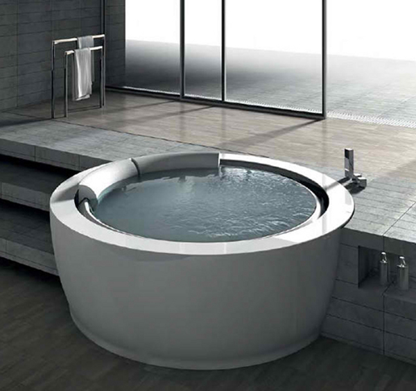 unique round whirlpool bathtub is inviting. Black Bedroom Furniture Sets. Home Design Ideas