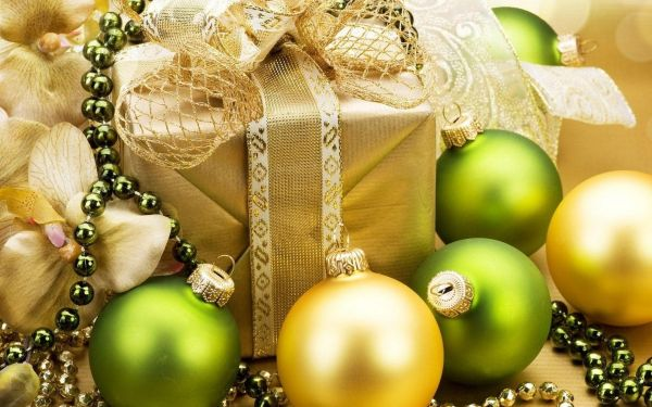 Colorful combination of yellow and green ornaments Yellow Christmas Decorations