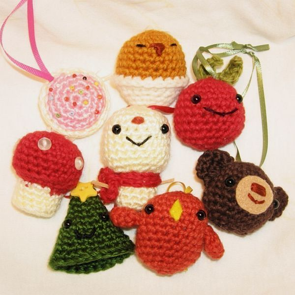 Crochet Christmas Ornaments : Crocheted Christmas Tree Ornaments Decorations Tree