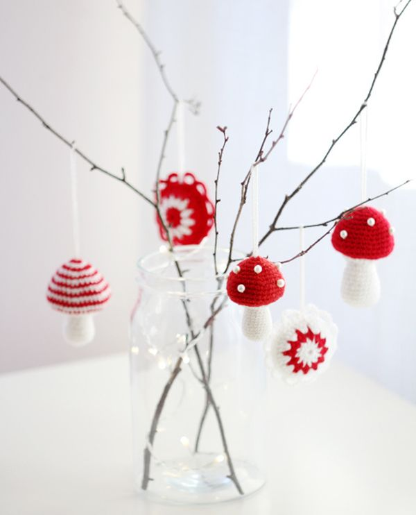 Crocheted mushrooms make a minimalist decoration Crocheted Christmas Tree Ornaments