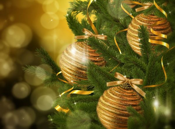 Gold Christmas decorations among the fir branches