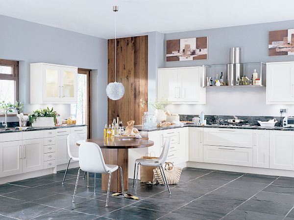 White Kitchen Cabinets With Gray Blue Walls