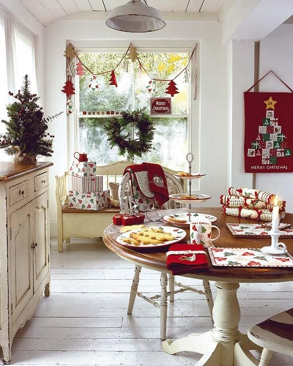 Ordinary Red And White Kitchen Decorating Ideas #10: View In Gallery Red And White Kitchen Christmas Theme. Decorating ...