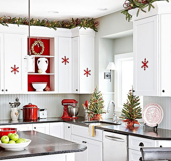 Snowflake ornaments in the kitchen