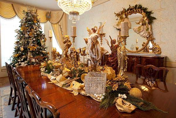 Traditional centerpieces on the Christmas dining table