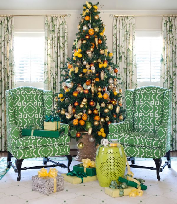 Yellow christmas tree decorations