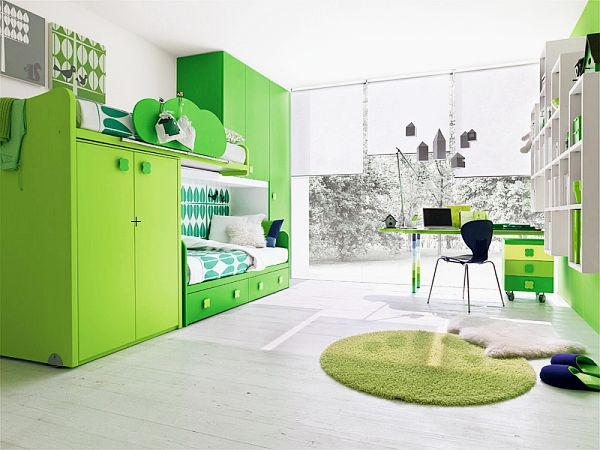 contemporary kids room green