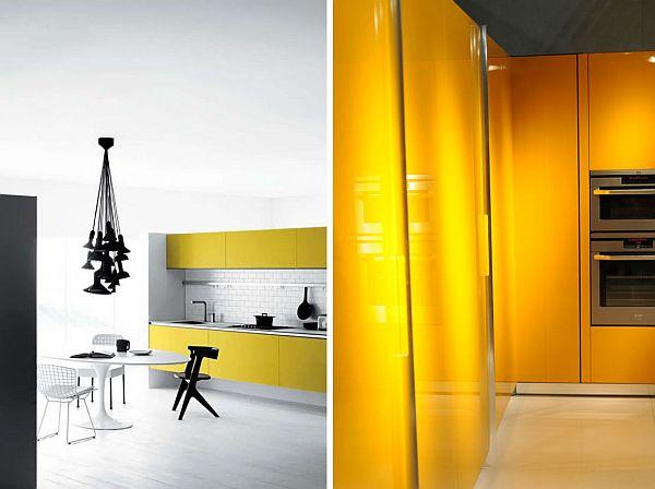 yellow themed kitchen design