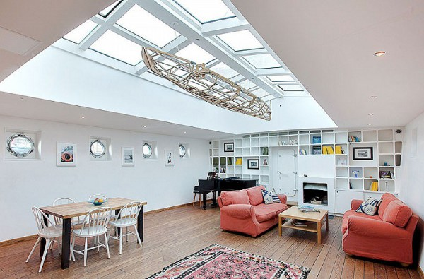 Barge Converted to a Floating House in Stockholm