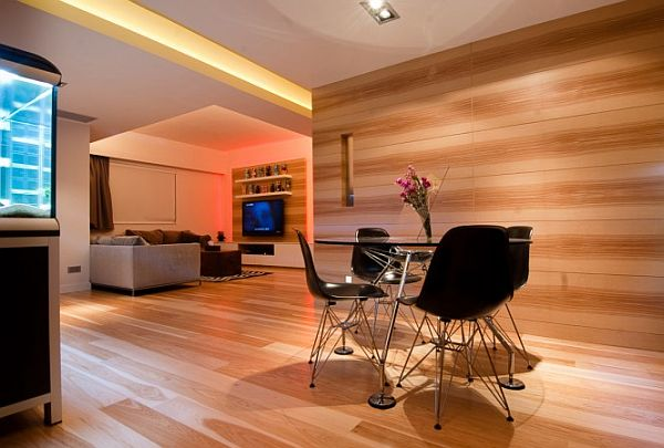 Hong Kong Wooden Apartment Decoration 2 Hong Kong Apartment Decorated with Contemporary Wood Paneling