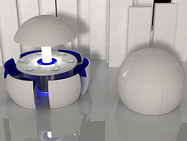 """Modern Round Dining Table and Chairs in a """"Pod"""""""