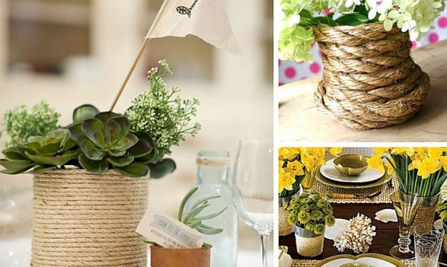 Fancy DIY Rope Wrapped Vases, Jars & Bottles