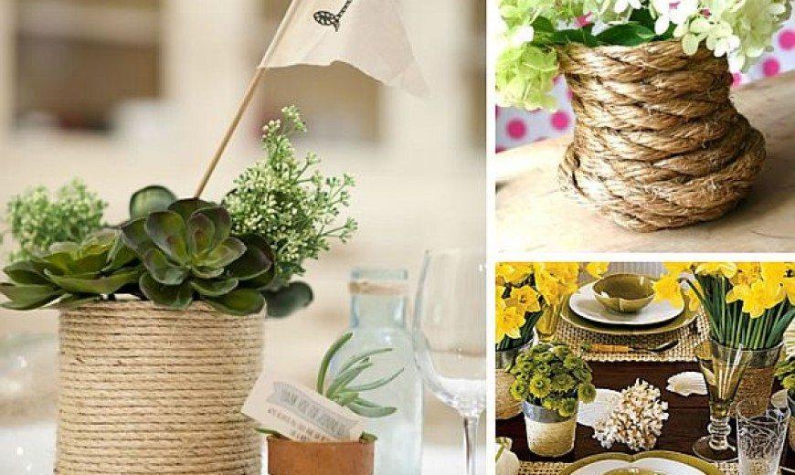 Fancy DIY Rope Wrapped Vases, Jars & Bottles
