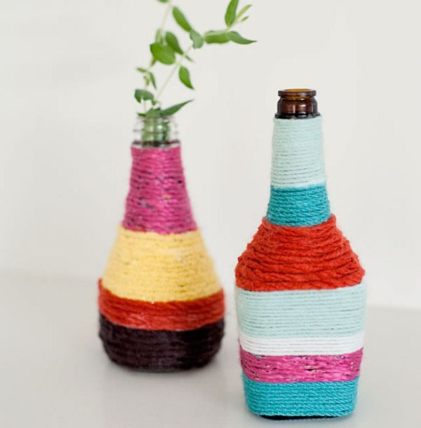 diy rope wrapped bottles