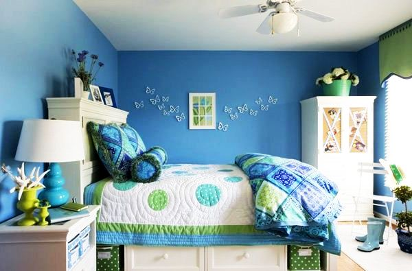 Girls room blue home design ideas essentials for Blue teenage bedroom ideas