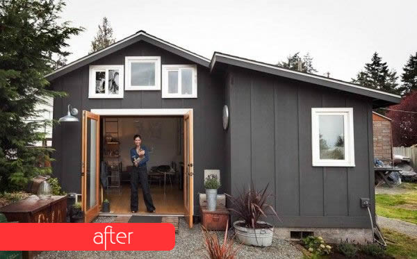 Boring Garage Turned into Fancy Small Home after DIY makeover
