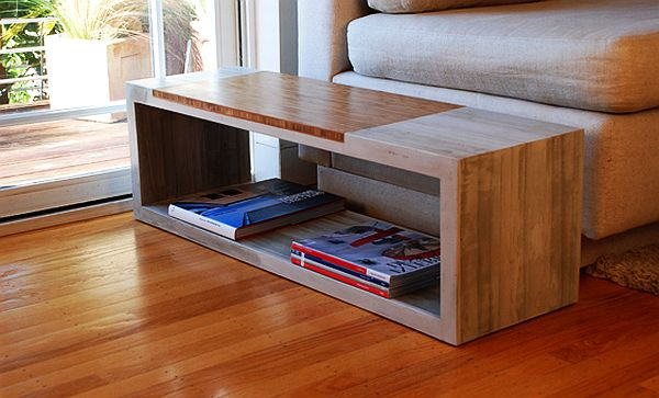 Concrete coffee table with storage 1 decoist Concrete and wood furniture