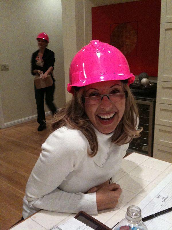 Lisa Holt interior designer pink helmet