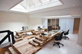 Office Design from Recycled Pallets at BrandBase in Amsterdam