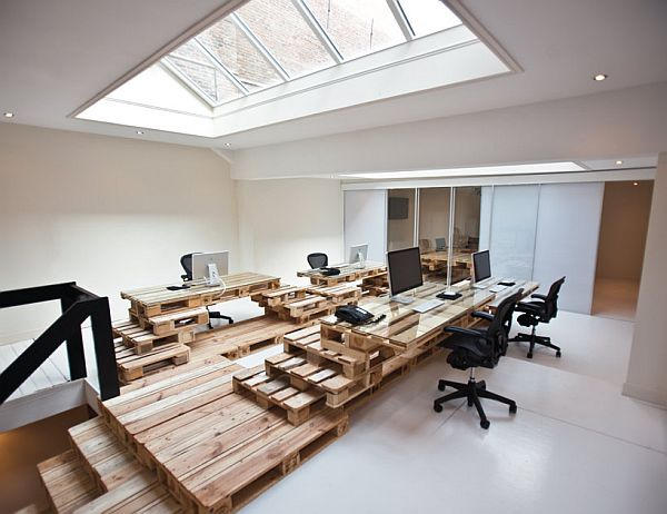 Recycled Pallet Office BrandBase Amsterdam 1 Office Design from Recycled Pallets at BrandBase in Amsterdam