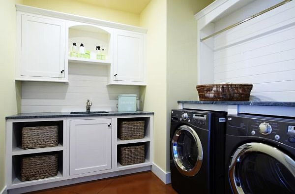 View In Gallery Traditional Laundry Room With White Cabinets